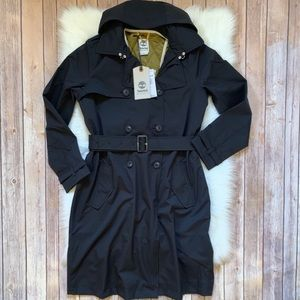Timberland Black Waterproof Belted Trench Coat